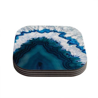 Kess InHouse KESS Original 'Blue Geode' Nature Photography Coasters (Set of 4)