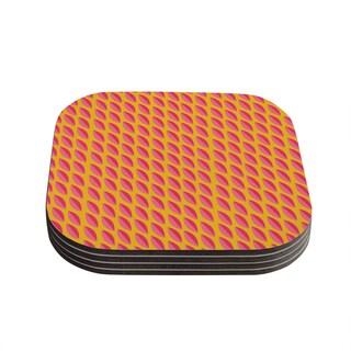 Kess InHouse Michelle Drew 'Seed Pods' Magenta Orange Coasters (Set of 4)