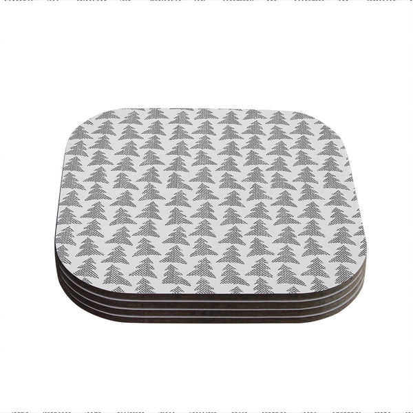 Kess InHouse Michelle Drew 'Herringbone Forest Black' Gray White Coasters (Set of 4)