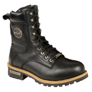 Men's Black Leather Lace-to-toe Boots With Side Zipper
