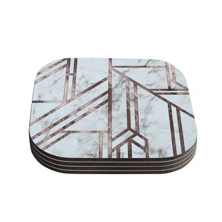 Kess InHouse KESS Original 'Dark Marble Mosaic' Digital Geometric Coasters (Set of 4)
