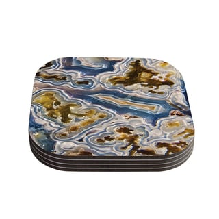 Kess InHouse KESS Original 'Gold And Blue Agate' Brown Nature Coasters (Set of 4)