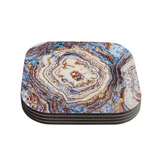 Kess InHouse KESS Original 'Crystal Agate' Blue Gold Coasters (Set of 4)