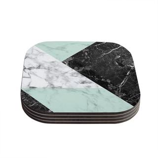 Kess InHouse KESS Original 'Geo Marble and Mint' Black Art Deco Coasters (Set of 4)