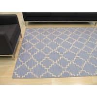 Handmade Wool Blue Contemporary Trellis Flatweave Revesible Moroccan Rug - 12' x 15'