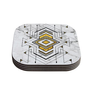 Kess InHouse KESS Original 'Geo Marble Graphic' Gold Tribal Coasters (Set of 4)