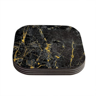 Kess InHouse KESS Original 'Gold Fleck Black Marble' Digital Abstract Coasters (Set of 4)
