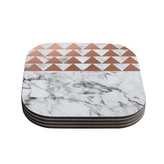 Kess InHouse KESS Original 'Marble & Metal' White Copper Coasters (Set of 4)