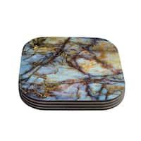 Kess InHouse KESS Original 'Opalized Marble' Blue Brown Coasters (Set of 4)