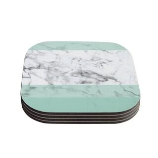 Kess InHouse KESS Original 'Mint Marble Fade' White Green Coasters (Set of 4)