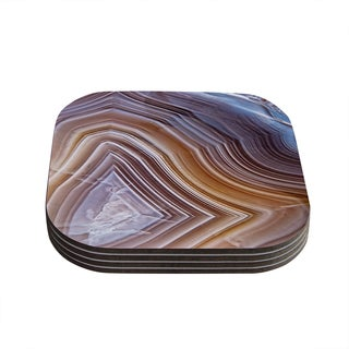 Kess InHouse KESS Original 'Pale Layered Agate' Blue Brown Coasters (Set of 4)