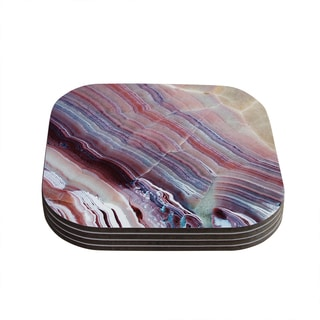 Kess InHouse KESS Original 'Sunrise Agate' Pink Purple Coasters (Set of 4)