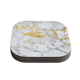 Kess InHouse KESS Original 'Gold Flake' Marble Metal Coasters (Set of 4)