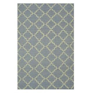 EORC Moroccan Handmade Wool Blue Flatweave Reversible Rug (9' x 12')