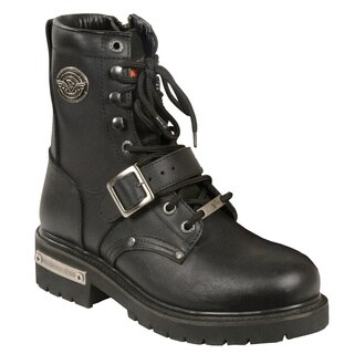 Shaf International Men's Black Leather Buckled and Lace to Toe Work Boots with Side Zipper Entry