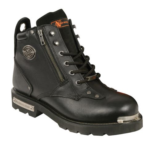 Men's Black Leather Lace-to-toe Double-zipper Boot