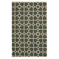 Handmade Wool Blue Contemporary Trellis Flatweave Revesible Dalton Rug