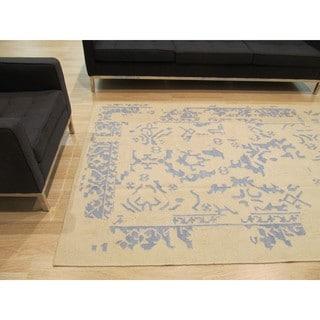 Handmade Wool Ivory Contemporary Geometric Flatweave Revesible Erased Rug (8' x 10')