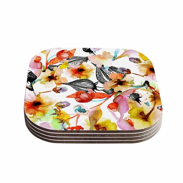 Kess InHouse Liz Perez 'BLOSSOMS' Multicolor Floral Coasters (Set of 4)