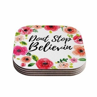 Kess InHouse KESS Original 'Don't Stop Believin' Coral White Coasters (Set of 4)