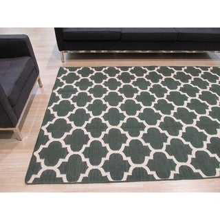 EORC Handmade Wool Green Flatweave Reversible Moroccan Rug (5' x 8')