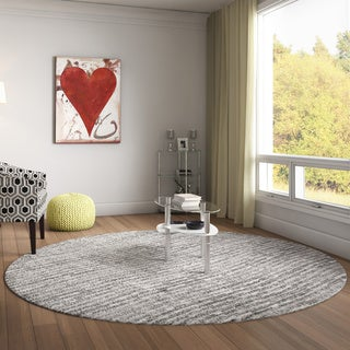 nuLOOM Contermporary Waves Solid Grey Rug (7'6 Round)