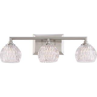 Quoizel Quoizel Platinum Collection Serena Silver Glass and Steel 3-light Bath Fixture