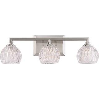 Quoizel Quoizel Platinum Collection Serena Silver Glass and Steel 3-light Bath Fixture