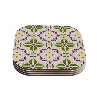 Kess InHouse Laura Nicholson Kissing Budgies Green and Purple Wood Geometric Coasters (Set of 4)