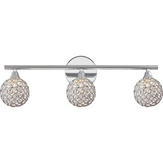 Quoize Platinum Collection Shimmer Clear Glass Bath Fixture with 3 Lights