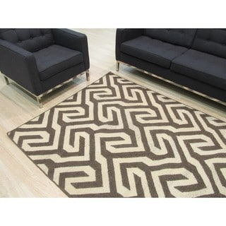 Handmade Wool Brown Contemporary Geometric Flatweave Revesible Casba Rug (9' x 12')