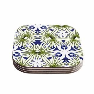 Kess InHouse Laura Nicholson 'Thalia' Olive Floral Coasters (Set of 4)