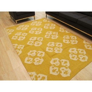 Handmade Wool Gold Contemporary Floral Flatweave Revesible Lily Rug (9' x 12')