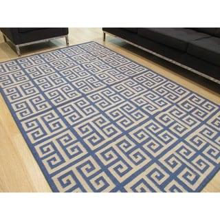 Handmade Wool Blue Contemporary Geometric Flatweave Revesible Athena Rug (10' x 14')