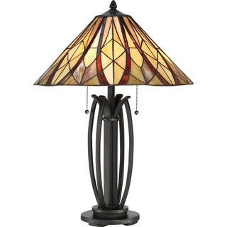 Quoizel Victory Stain Glass Modern Bronze Base Tiffany Style Table Lamp