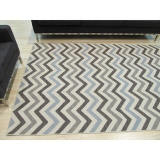Handmade Wool Contemporary Geometric Flatweave Revesible Chevron Rug (8' x 10')