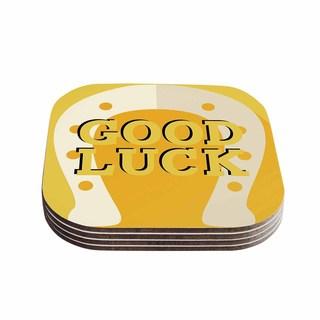 Kess InHouse KESS Original 'Lucky Horseshoe' Yellow Typography Coasters (Set of 4)
