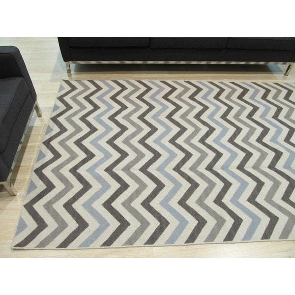 Chevron Denim Wool Rug: Shop Handmade Wool Contemporary Geometric Flatweave