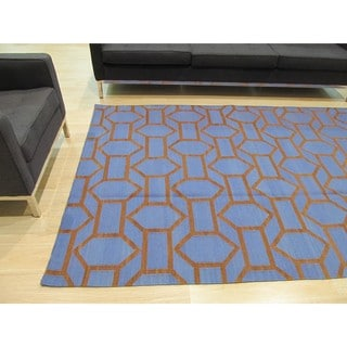 Handmade Wool Blue Contemporary Trellis Flatweave Revesible Pierce Rug (9' x 12')