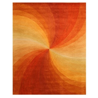 Hand-tufted Wool Orange Contemporary Abstract Swirl Rug (9'6 x 13'6)