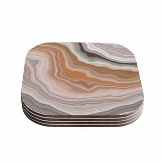 Kess InHouse KESS Original 'Burnt' Orange Geological Coasters (Set of 4)