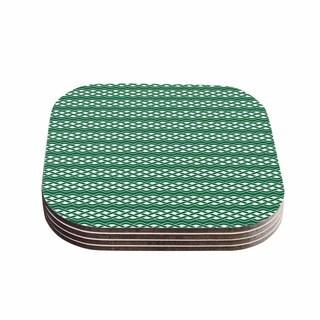 Kess InHouse KESS Original 'Celtic - Texture' Green White Coasters (Set of 4)
