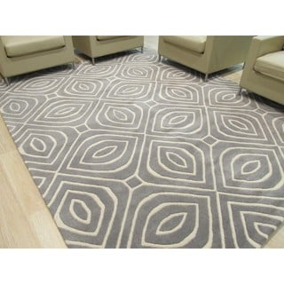 Hand-tufted Wool Gray Contemporary Geometric Marla Rug (9' x 12') - 9' x 12'