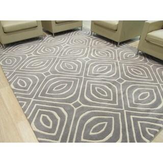 Hand-tufted Wool Gray Contemporary Geometric Marla Rug - 9' x 12'