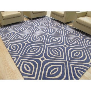 Hand-tufted Wool Blue Contemporary Geometric Marla Rug (9' x 12') - 9' x 12'