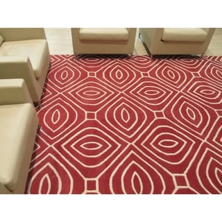 EORC Hand-Tufted Wool Red Marla Rug (9' x 12')