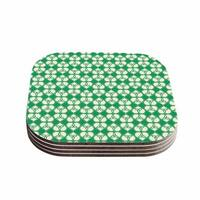 Kess InHouse KESS Original 'Celtic' Green Pattern Coasters (Set of 4)