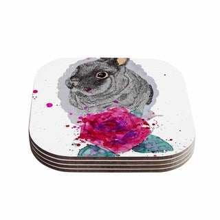 Kess InHouse Cecibd 'BunnyRose' Animals Painting Coasters (Set of 4)