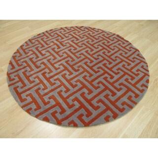 EORC Hand-Tufted Wool Grey Harrison Rug (6' Round)