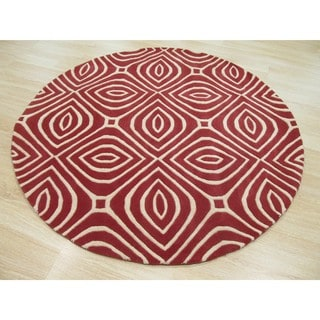 Hand-tufted Wool Red Contemporary Geometric Marla Rug (6' Round)